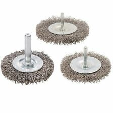 ROTARY STAINLESS STEEL WIRE WHEEL BRUSH SET 3PK 50mm 75mm 100mm GRINDER P477