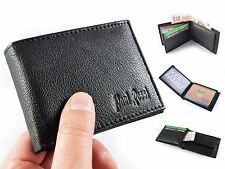 New Black Leather Men's Small Slim Wallet Credit Card ID Holder by Paul Rossi
