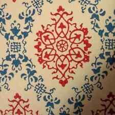 1950s ORIGINAL BLUE RED  Damask Wallpaper  - Retro Vintage