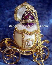 Russian Easter Empress White Carriage Egg & Royal Purple Faberge Necklace