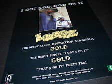 LUNIZ I Got Half A Mil On It 1995 INDUSTRY ONLY Promo Display Ad mint condition