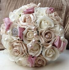 DUSKY VINTAGE PINK IVORY BROOCH ROSES BRIDES BOUQUET WEDDING FLOWERS