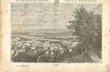 Agen Lot-et-Garonne FRANCE GRAVURE ANTIQUE PRINT 1882