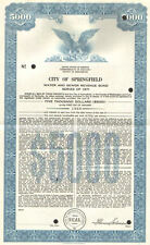 City of Springfield   1971 Kentucky Lincoln Simms $5,000 sewer bond certificate