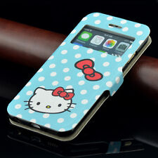 for iPhone 6 6S BLUE POLKA DOTS HELLO KITTY Leather Card Wallet Pouch Case Cover