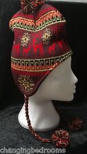 UNISEX MENS LADIES KNITTED PERUVIAN HAT FLEECE LINED WITH EARFLAP REINDEER BROWN