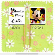 20 PERSONALISED MICKEY MOUSE CUP CAKE FLAG Party Pick Topper Decoration Birthday