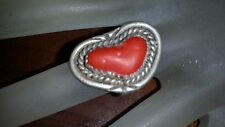 Classic Old Pawn Sterling Silver & Heart Shaped Red Coral Ring size 5 1/2
