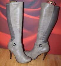Grey real leather platform knee high brogue heel River Island boots 6 39 VGC B11