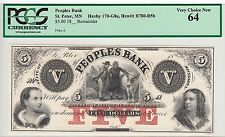 People's Bank $5 Remainder-St. Peter, MN   PCGS graded *VERY CHOICE NEW 64*