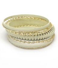 White Ivory Set Of 7 Bangle Bracelets Yellow Gold Plated Fashion  Bracelets
