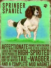"SPRINGER SPANIEL 12""X 8"" MEDIUM METAL SIGN 30X20CM WITH CHARACTER TRAITS, DOGS"