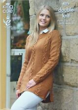 KNITTING PATTERN Ladies Long Sleeve Round Neck Long Cable Tunic DK KingCole 4076