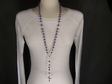 "rosary beads Purple Silver rosary cross 30"" long necklace pendant bead beaded"