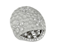 STERLING SILVER DOME FLOWER RING WITH CUBIC ZIRCONIA