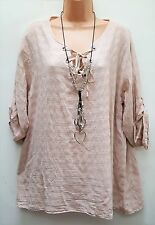 New Italian Lagenlook Pink Lace up front Cotton Tunic Top uk 14 16 18 20