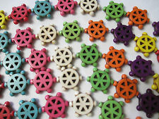 "GEARS GEAR Beads WHOLESALE 115 Beads Howlite - Rainbow Colors 1/2"" Steampunk New"