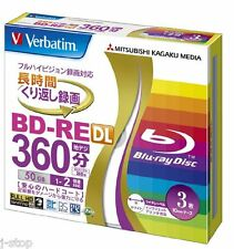 3 Verbatim BD-RE DL 50GB 4x Speed Bluray Inkjet Printable Rewritable Blank Media