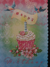 Carol Wilson Birthday Card For Her Glitter Cupcake Blue Bird Rose Embossed
