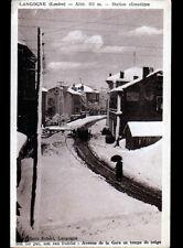 LANGOGNE (48) Avenue de la GARE animée en hiver , cliché période 1930