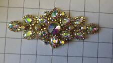 "6"" by 3"" Crystal AB Rhinestone with Gold Trim Applique Dance Costume (A-28B)"