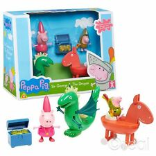 NUOVO Peppa Pig SIR George & THE DRAGON Figura Playset & petto Principessa Ufficiale
