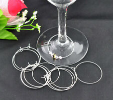 100Pcs Silver Plated Wine Glass Rings Earring Hoops Jewelry Charms Findings 40mm
