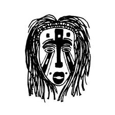 AFRICAN TRIBAL MASK unmounted rubber stamp #17