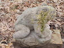 "Vintage Cement 6 1/2"" Tall Sitting Frog Garden Statue Weathered Concrete  Nice!"