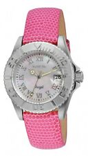 New Women's Invicta 18404 Angel Swiss White MOP Dial Pink Leather Watch