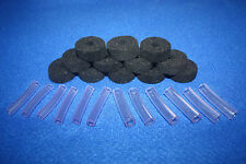Black 35mm dia x 12mm Cymbal Felts + 6mm & 8mm Sleeves for Drum Kits - 24 Pieces