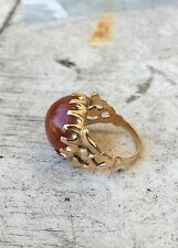 HEAVY Antique Vintage Solid 14k Gold Crown Setting Carnelian Ring, 7.94 Grams!