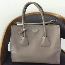 Prada Gray Saffiano Calfskin 2 Way Leather Double-Zip Executive Tote Bag