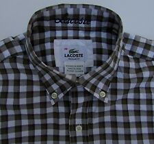 Men's Lacoste long sleeve button front shirt.size 38(S).brown checks