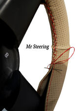 FOR BMW E34 5-SERIES BEIGE PERFORATED LEATHER STEERING WHEEL COVER RED STITCHING
