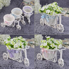 Chic Pretty BowKnot Rattan Tricycle Bike Basket Party Home Wedding Decor