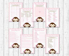 Girl Pop Monkey Pink Baby Shower Games Pack - 8 Printable Games