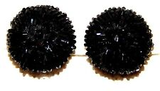 VINTAGE BLACK CZECH SEEDS BEATS GLASS CLIP ON EARRINGS