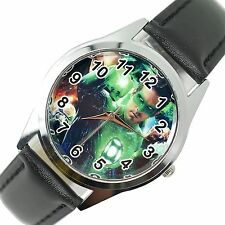 GREEN LATERN COMICS SUPERHERO WATCH Steel LEATHER DVD FILM MOVIE ROUND DVD WATCH