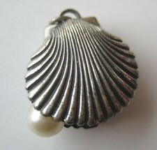 VINTAGE Beau Sterling Silver OYSTER SHELL Bracelet Charm With Faux PEARL