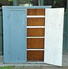 Antique Vintage Jelly Cabinet Cupboard 39x7x48 Blue Paint 5 Shelves CountryChic
