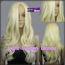 60cm Light Golden Blonde Heat Styleable No Bang Curly wavy Cosplay Wigs 38_LGB