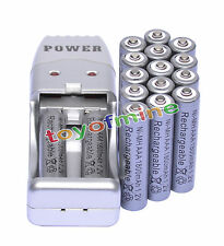 16 X AAA 3A 1800mah1.2V NiMH rechargeable battery Grey+USB Charger