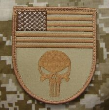 PUNISHER USA FLAG SHIELD TACTICAL MILITARY US ARMY MORALE DESERT VELCRO PATCH