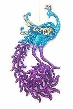 """Kurt Adler 6"""" Purple Turquoise Glitter Peacock Christmas Ornament T1187 1 of 2 B"""
