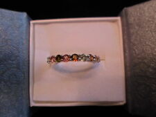 Multi-Color Tourmaline Band Ring in 925 Sterling Silver - Size 7 - 1.25 Carats