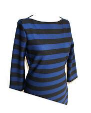 Esprit Abendkleid Kleid Etuikleid stretch blau schwarz gestreift Gr. 42 / XL NEU