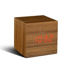 Gingko Cube Walnut Wood Effect Sound Activated Click Alarm Clock Red LED Gift