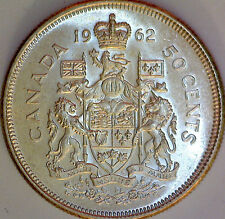 1962 CANADA 50 Cent Silver Coin Uncirculated - 80% Silver