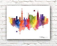 Tokyo Skyline Abstract Watercolor Painting Art Print by Artist DJ Rogers